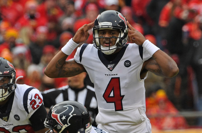 Quarterback Deshaun Watson #4 of the Houston Texans calls out an audible in the second half during the AFC Divisional playoff game against the Kansas City Chiefs at Arrowhead Stadium on January 12, 2020 in Kansas City, Missouri. (Photo by Peter G. Aiken/Getty Images)