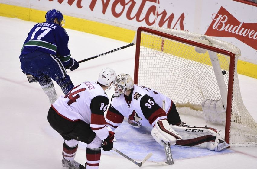 Mar 9, 2016; Vancouver, British Columbia, CAN; Vancouver Canucks forward Radim Vrbata (17) scores a goal past Arizona Coyotes goaltender Louis Domingue (35) and defenseman Kias Dahlbeck (34) during the second period at Rogers Arena. Mandatory Credit: Anne-Marie Sorvin-USA TODAY Sports