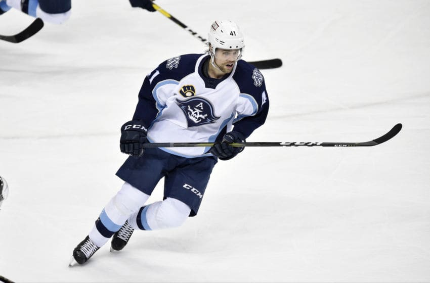 HERSHEY, PA - JANUARY 06: Milwaukee Admirals center Emil Pettersson (41) skates through the neutral zone during the Milwaukee Admirals at Hershey Bears AHL game January 6, 2019 at the Giant Center in Hershey, PA. (Photo by Randy Litzinger/Icon Sportswire via Getty Images)