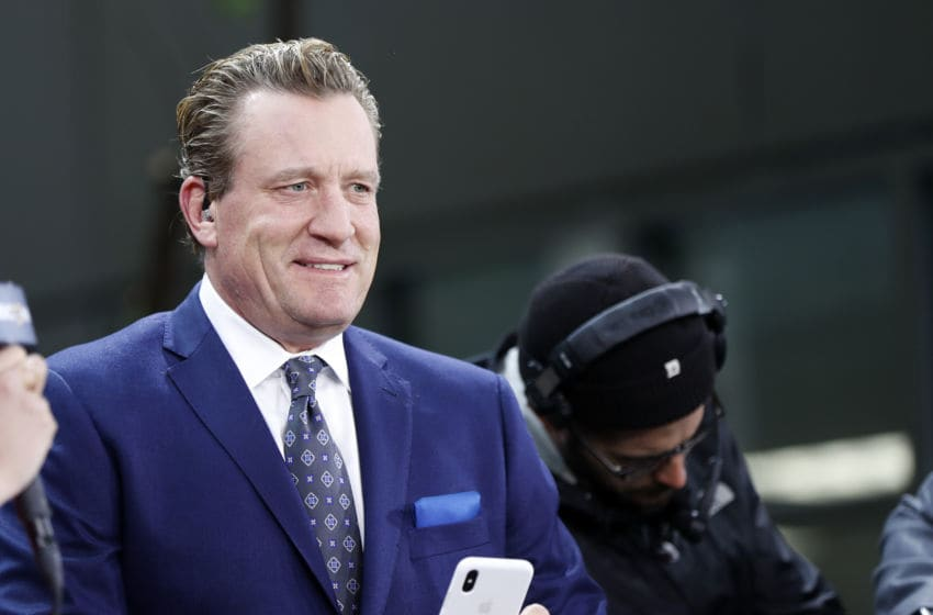 BOSTON, MA - MAY 29: NBCSN's Jeremy Roenick checks his phone before Game 2 of the 2019 Stanley Cup Finals between the Boston Bruins and the St. Louis Blues on May 29, 2019, at TD Garden in Boston, Massachusetts. (Photo by Fred Kfoury III/Icon Sportswire via Getty Images)