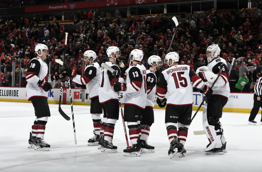 CHICAGO, IL - DECEMBER 08: The Arizona Coyotes celebrate after defeating the Chicago Blackhawks 4-3 at the United Center on December 8, 2019 in Chicago, Illinois. (Photo by Bill Smith/NHLI via Getty Images)