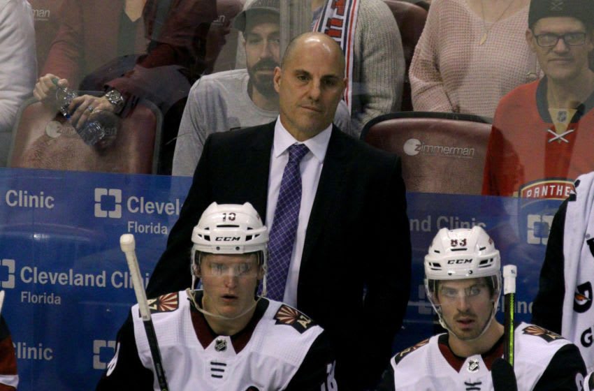 SUNRISE, FL - JANUARY 07: Arizona Coyotes head coach Richard Tocchet watches from the bench during the third period on January 07, 2020, at the BB&T Center in Sunrise, Florida. (Photo by Douglas Jones/Icon Sportswire via Getty Images)