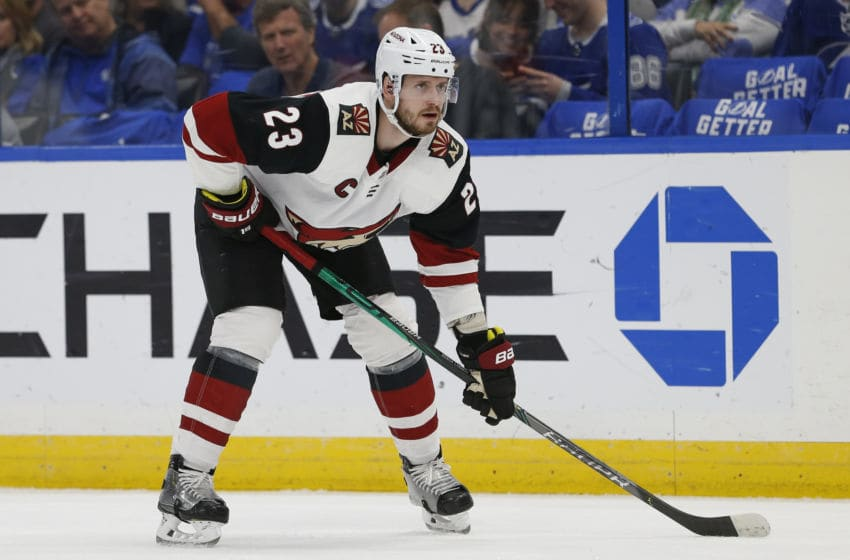 TAMPA, FL - JANUARY 09: Arizona Coyotes defenseman Oliver Ekman-Larsson (23) during the NHL game between the Arizona Coyotes and Tampa Bay Lightning on January 09, 2020 at Amalie Arena in Tampa, FL. (Photo by Mark LoMoglio/Icon Sportswire via Getty Images)