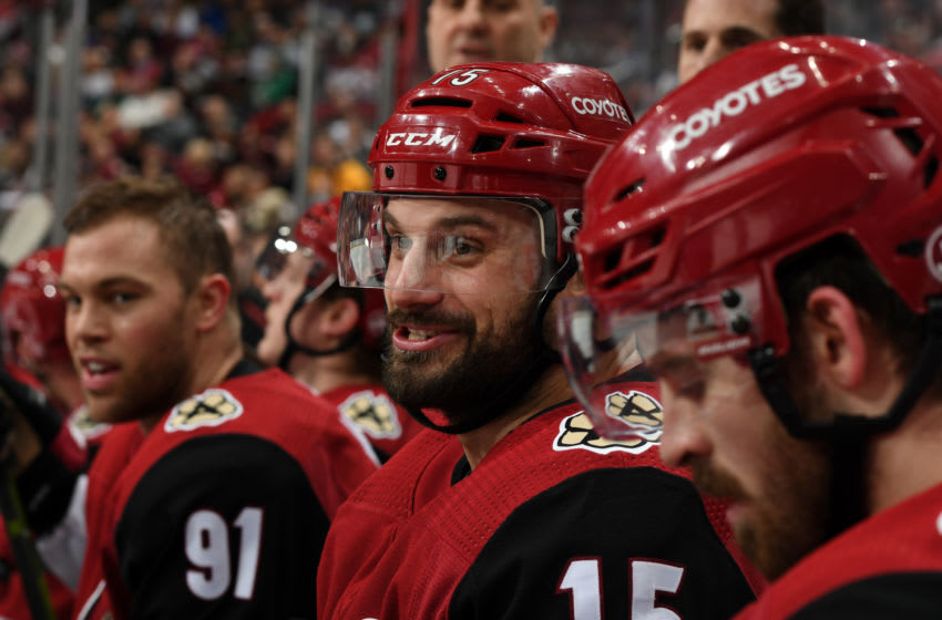 GLENDALE, ARIZONA - JANUARY 02: Brad Richardson #15 of the Arizona Coyotes celebrates with teammates on the bench after scoring a goal against the Anaheim Ducks during the third period of the NHL hockey game at Gila River Arena on January 02, 2020 in Glendale, Arizona. (Photo by Norm Hall/NHLI via Getty Images)