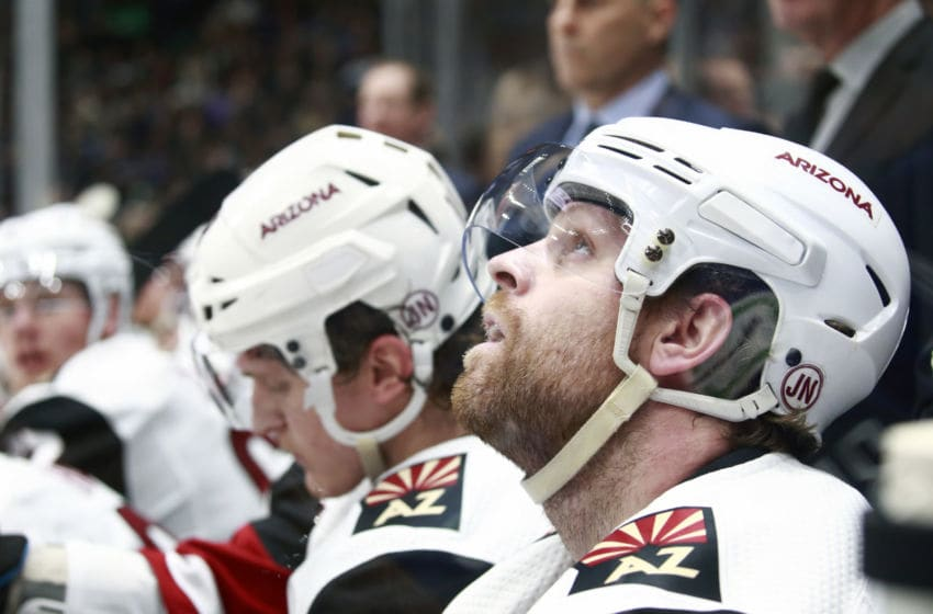 VANCOUVER, BC - JANUARY 16: Phil Kessel #81 of the Arizona Coyotes looks on from the bench during their NHL game against the Vancouver Canucks at Rogers Arena January 16, 2020 in Vancouver, British Columbia, Canada. (Photo by Jeff Vinnick/NHLI via Getty Images)