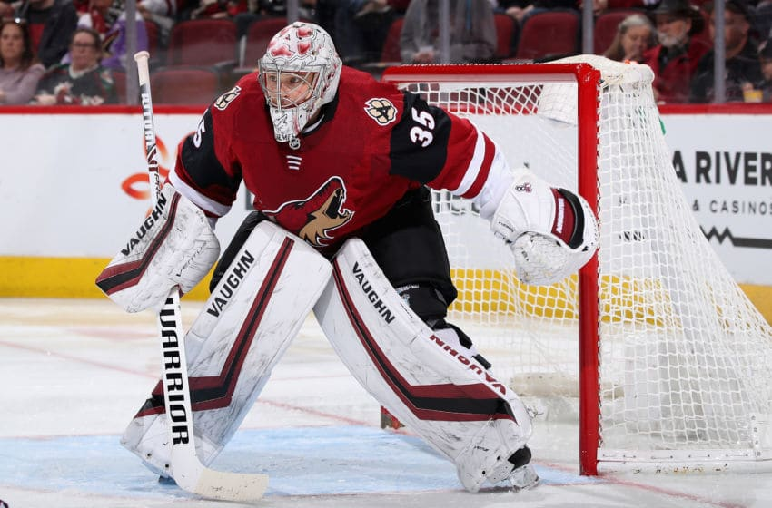 GLENDALE, ARIZONA - FEBRUARY 25: Goaltender Darcy Kuemper #35 of the Arizona Coyotes in action during the NHL game against the Florida Panthers at Gila River Arena on February 25, 2020 in Glendale, Arizona. The Panthers defeated the Coyotes 2-1. (Photo by Christian Petersen/Getty Images)