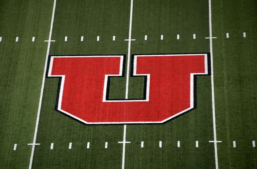 Sep 23, 2016; Salt Lake City, UT, USA; General view of the Utah Utes logo at midfield before the game against the USC Trojans at Rice-Eccles Stadium. Mandatory Credit: Kirby Lee-USA TODAY Sports