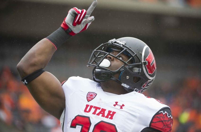 Oct 15, 2016; Corvallis, OR, USA; Utah Utes running back Joe Williams (28) reacts to a touchdown against the Oregon State Beavers in the first quarter at Reser Stadium. Mandatory Credit: Cole Elsasser-USA TODAY Sports