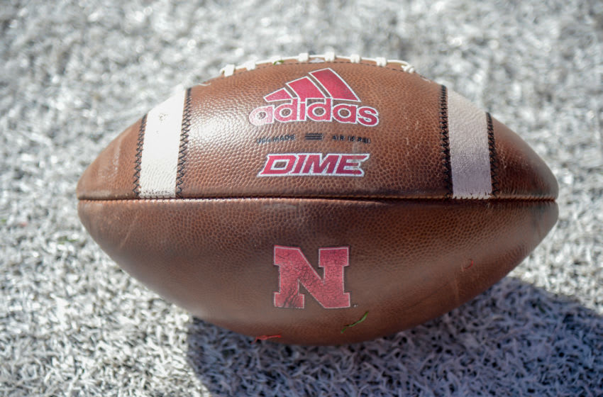 LINCOLN, NE - OCTOBER 20: General view of a football before the game between the Nebraska Cornhuskers and the Minnesota Golden Gophers at Memorial Stadium on October 20, 2018 in Lincoln, Nebraska. (Photo by Steven Branscombe/Getty Images)