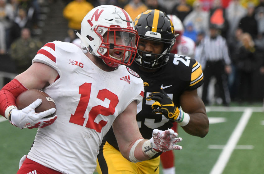 IOWA CITY, IA - NOVEMBER 23: Nebraska Cornhuskers tight end Katerian Legrone (12) carries the ball during a Big Ten Conference football game between the Nebraska Cornhuskers and the Iowa Hawkeyes on November 23, 2018, at Kinnick Stadium, Iowa City, IA. (Photo by Keith Gillett/Icon Sportswire via Getty Images)