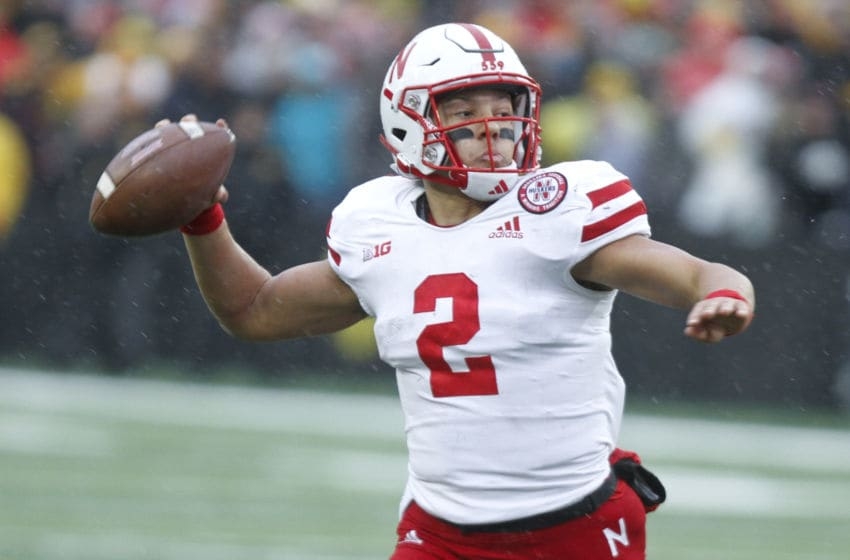 IOWA CITY, IOWA- NOVEMBER 23: Quarterback Adrian Martinez #2 of the Nebraska Cornhuskers throws a pass in the second half against the Iowa Hawkeyes, on November 23, 2018 at Kinnick Stadium, in Iowa City, Iowa. (Photo by Matthew Holst/Getty Images)
