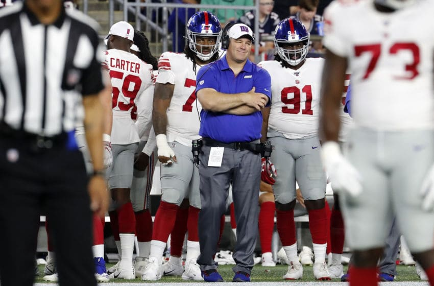 FOXBOROUGH, MA - AUGUST 29: New York Giants outside linebackers coach Mike Dawson during a game between the New England Patriots and the New York Giants on August 29, 2019, at Gillette Stadium in Foxborough, Massachusetts. (Photo by Fred Kfoury III/Icon Sportswire via Getty Images)