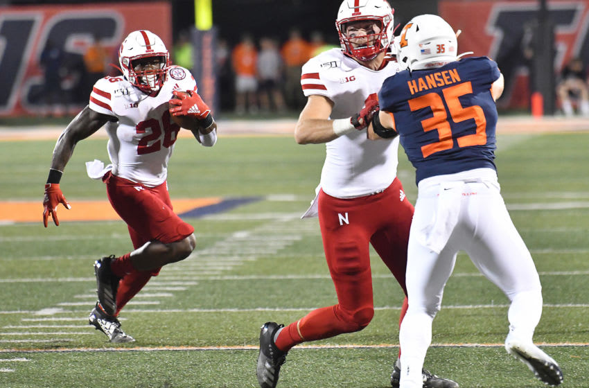 CHAMPAIGN, IL. - SEPTEMBER 21: Nebraska running back Dedrick Mills (26) carries the ball during a Big Ten Conference football game between the Nebraska Cornhuskers and the Illinois Fighting Illini on September 21, 2019, at Memorial Stadium, Champaign, IL. (Photo by Keith Gillett/Icon Sportswire via Getty Images)