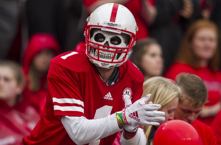 LINCOLN, NE - SEPTEMBER 28: A fan shows his support with a facemask during the game between the Nebraska Cornhuskers and the Ohio State Buckeyes on Saturday September 28, 2019 at Memorial Stadium in Lincoln, NE. (Photo by Nick Tre. Smith/Icon Sportswire via Getty Images)
