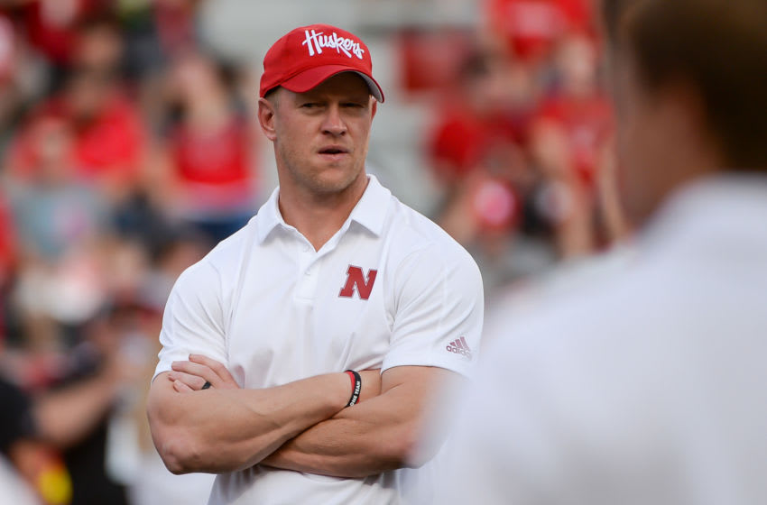 LINCOLN, NE - SEPTEMBER 14: Head coach Scott Frost of the Nebraska Cornhuskers on the field before the game against the Northern Illinois Huskies at Memorial Stadium on September 14, 2019 in Lincoln, Nebraska. (Photo by Steven Branscombe/Getty Images)