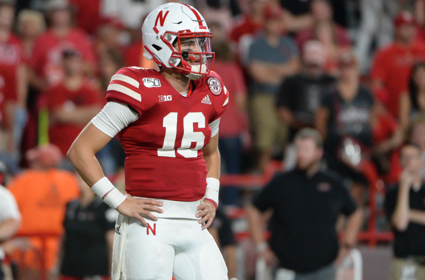 LINCOLN, NE - SEPTEMBER 14: Quarterback Noah Vedral #16 of the Nebraska Cornhuskers looks over to the sideline against the Northern Illinois Huskies at Memorial Stadium on September 14, 2019 in Lincoln, Nebraska. (Photo by Steven Branscombe/Getty Images)
