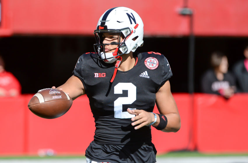 LINCOLN, NE - OCTOBER 26: Quarterback Adrian Martinez #2 of the Nebraska Cornhuskers warms up before the game against the Indiana Hoosiers at Memorial Stadium on October 26, 2019 in Lincoln, Nebraska. (Photo by Steven Branscombe/Getty Images)