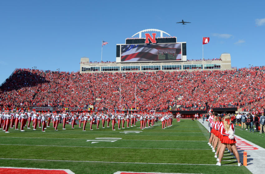 LINCOLN, NE - OCTOBER 5: A KC-135 tanker performs a fly over before the game between the Nebraska Cornhuskers and the Northwestern Wildcats at Memorial Stadium on October 5, 2019 in Lincoln, Nebraska. (Photo by Steven Branscombe/Getty Images)