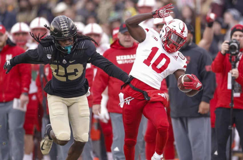 WEST LAFAYETTE, IN - NOVEMBER 02: JD Spielman #10 of the Nebraska Cornhuskers runs the ball as Cory Trice #23 of the Purdue Boilermakers attempts the tackle at Ross-Ade Stadium on November 2, 2019 in West Lafayette, Indiana. (Photo by Michael Hickey/Getty Images)