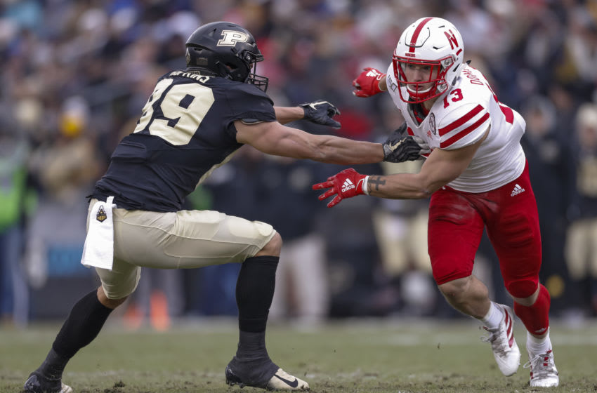 WEST LAFAYETTE, IN - NOVEMBER 02: JoJo Domann #13 of the Nebraska Cornhuskers is seen during the game against the Purdue Boilermakers at Ross-Ade Stadium on November 2, 2019 in West Lafayette, Indiana. (Photo by Michael Hickey/Getty Images)