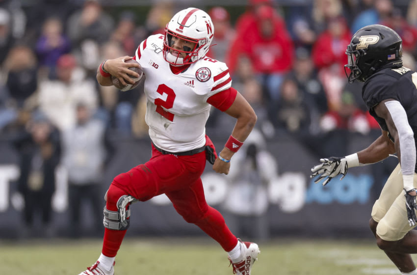 WEST LAFAYETTE, IN - NOVEMBER 02: Adrian Martinez #2 of the Nebraska Cornhuskers runs the ball during the game against the Purdue Boilermakers at Ross-Ade Stadium on November 2, 2019 in West Lafayette, Indiana. (Photo by Michael Hickey/Getty Images)