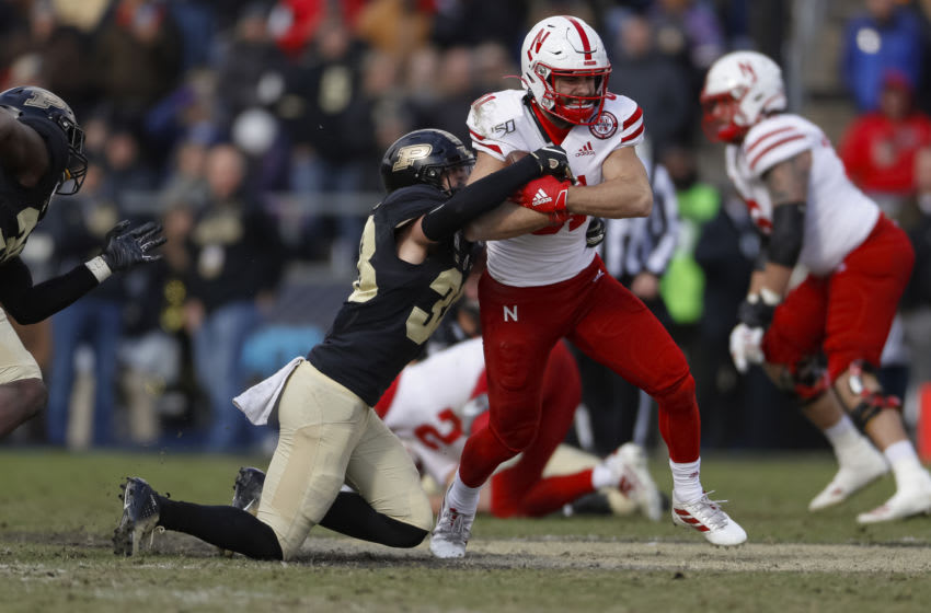 WEST LAFAYETTE, IN - NOVEMBER 02: Kade Warner #81 of the Nebraska Cornhuskers runs the ball during the game against the Purdue Boilermakers at Ross-Ade Stadium on November 2, 2019 in West Lafayette, Indiana. (Photo by Michael Hickey/Getty Images)
