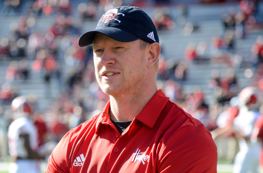 LINCOLN, NE - OCTOBER 26: Head coach Scott Frost of the Nebraska Cornhuskers watches his team warm up before the game against the Indiana Hoosiers at Memorial Stadium on October 26, 2019 in Lincoln, Nebraska. (Photo by Steven Branscombe/Getty Images)