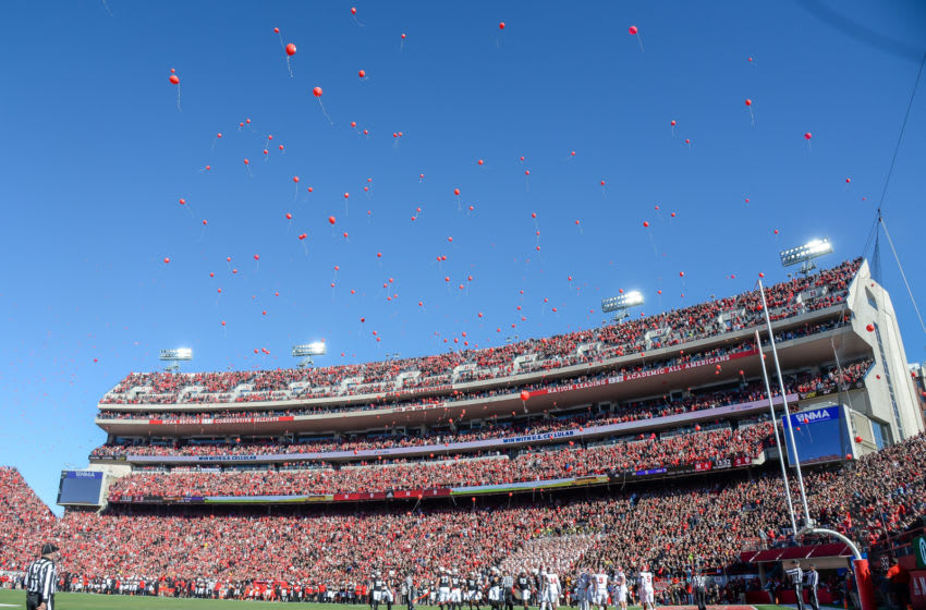 LINCOLN, NE - OCTOBER 26: Fans of the Nebraska Cornhuskers release balloons after the first score against the Indiana Hoosiers at Memorial Stadium on October 26, 2019 in Lincoln, Nebraska. (Photo by Steven Branscombe/Getty Images)