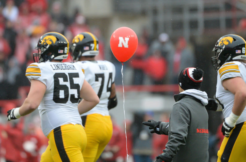 LINCOLN, NE - NOVEMBER 29: A balloon floats on to the field in the game between the Nebraska Cornhuskers and the Iowa Hawkeyes at Memorial Stadium on November 29, 2019 in Lincoln, Nebraska. (Photo by Steven Branscombe/Getty Images)