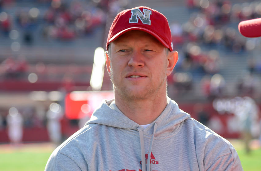 LINCOLN, NE - NOVEMBER 16: Head coach Scott Frost of the Nebraska Cornhuskers watches action before the game against the Wisconsin Badgers at Memorial Stadium on November 16, 2019 in Lincoln, Nebraska. (Photo by Steven Branscombe/Getty Images)