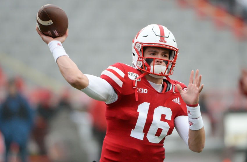 LINCOLN, NE - NOVEMBER 29: Quarterback Noah Vedral #16 of the Nebraska Cornhuskers warms up before the game against the Iowa Hawkeyes at Memorial Stadium on November 29, 2019 in Lincoln, Nebraska. (Photo by Steven Branscombe/Getty Images)