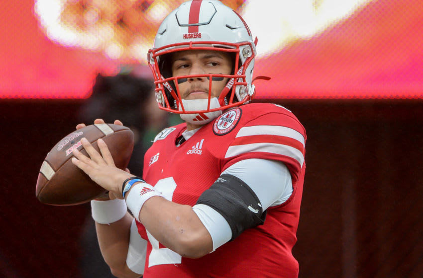 LINCOLN, NE - NOVEMBER 29: Quarterback Adrian Martinez #2 of the Nebraska Cornhuskers warms up before the game against the Iowa Hawkeyes at Memorial Stadium on November 29, 2019 in Lincoln, Nebraska. (Photo by Steven Branscombe/Getty Images)