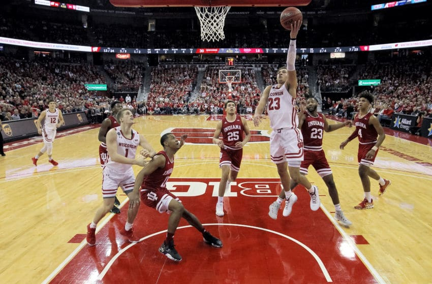 MADISON, WISCONSIN - DECEMBER 07: Kobe King #23 of the Wisconsin Badgers attempts a shot in the first half against the Indiana Hoosiers at the Kohl Center on December 07, 2019 in Madison, Wisconsin. (Photo by Dylan Buell/Getty Images)