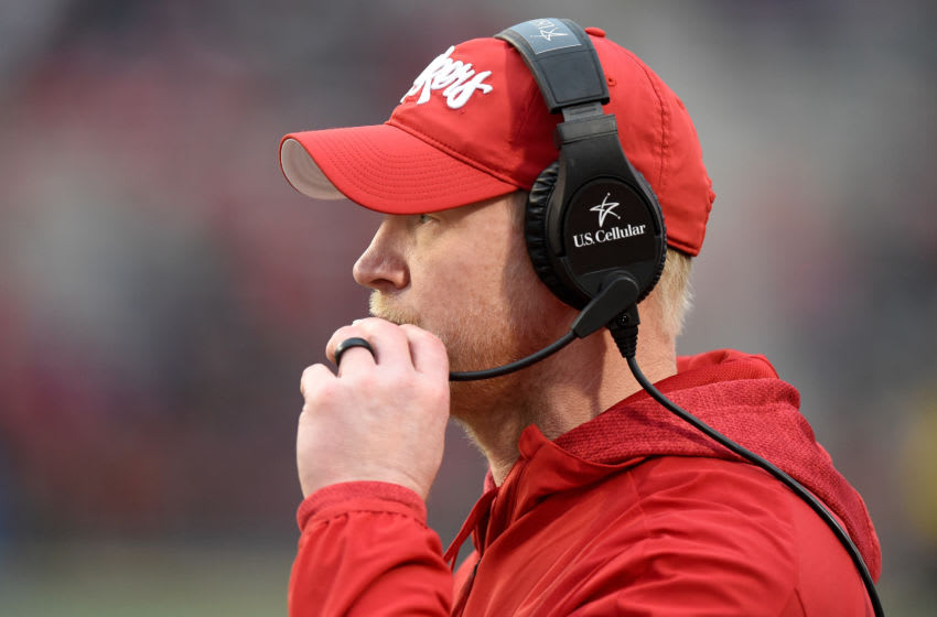 COLLEGE PARK, MD - NOVEMBER 23: Head Coach Scott Frost of the Nebraska Cornhuskers watches the game against the Maryland Terrapins on November 23, 2019 in College Park, Maryland. (Photo by G Fiume/Maryland Terrapins/Getty Images)