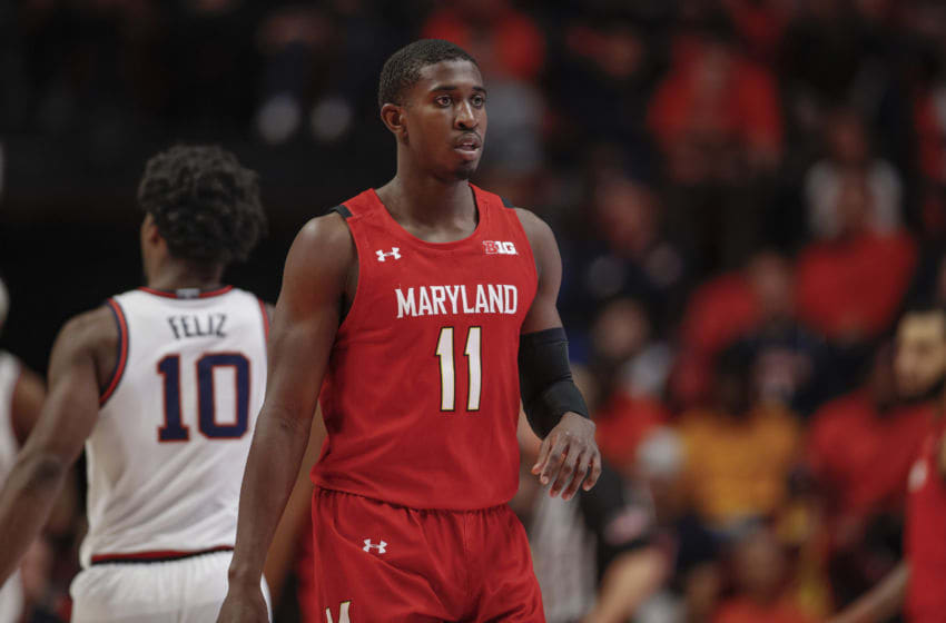 CHAMPAIGN, IL - FEBRUARY 07: Darryl Morsell #11 of the Maryland Terrapins is seen during the game against the Illinois Fighting Illini at State Farm Center on February 7, 2020 in Champaign, Illinois. (Photo by Michael Hickey/Getty Images)
