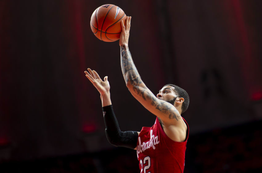 CHAMPAIGN, IL - FEBRUARY 24: Haanif Cheatham #22 of the Nebraska Cornhuskers shoots the ball during the game against the Illinois Fighting Illini at State Farm Center on February 24, 2020 in Champaign, Illinois. (Photo by Michael Hickey/Getty Images)