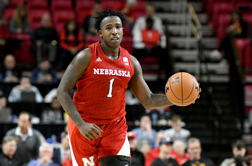 COLLEGE PARK, MD - FEBRUARY 11: Kevin Cross #1 of the Nebraska Cornhuskers dribbles up court during a college basketball game against the Maryland Terrapins at the Xfinity Center on February 11, 2020 in College Park, Maryland. (Photo by Mitchell Layton/Getty Images)