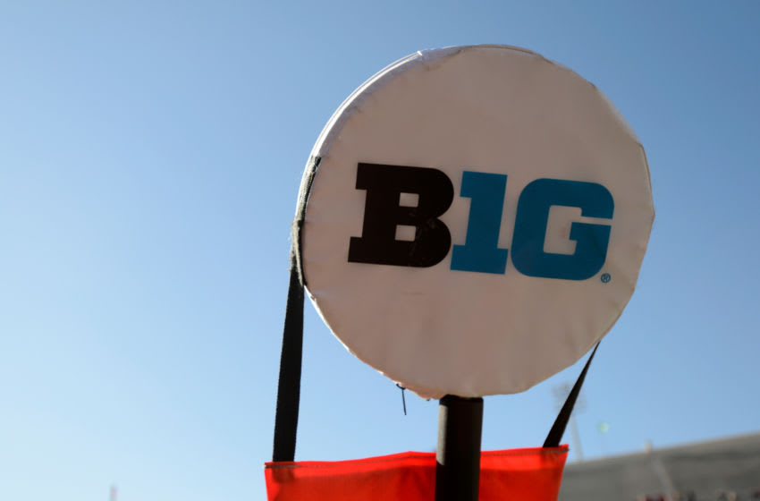 BLOOMINGTON, IN - NOVEMBER 10: The Big Ten logo on a yard marker at Memorial Stadium during the game between the Maryland Terrapins and the Indiana Hoosiers on November 10, 2018 in Bloomington, Indiana. (Photo by G Fiume/Maryland Terrapins/Getty Images)