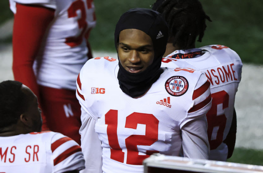 PISCATAWAY, NJ - DECEMBER 18: Tamon Lynum #12 of the Nebraska Cornhuskers smiles on the sideline during the fourth quarter at SHI Stadium on December 18, 2020 in Piscataway, New Jersey. Nebraska defeated Rutgers 28-21. (Photo by Corey Perrine/Getty Images)