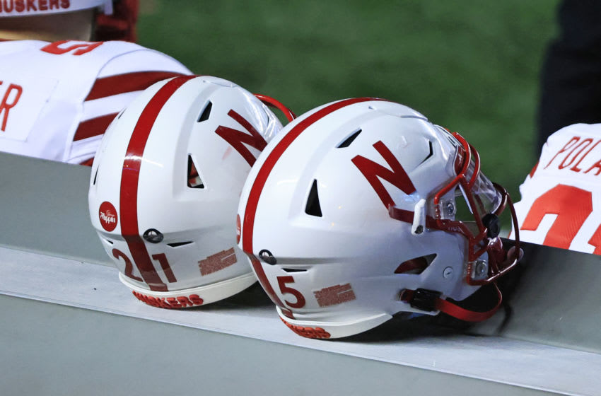 PISCATAWAY, NJ - DECEMBER 18: Nebraska Cornhuskers helmets are seen on the sideline during the fourth quarter at SHI Stadium on December 18, 2020 in Piscataway, New Jersey. Nebraska defeated Rutgers 28-21. (Photo by Corey Perrine/Getty Images)