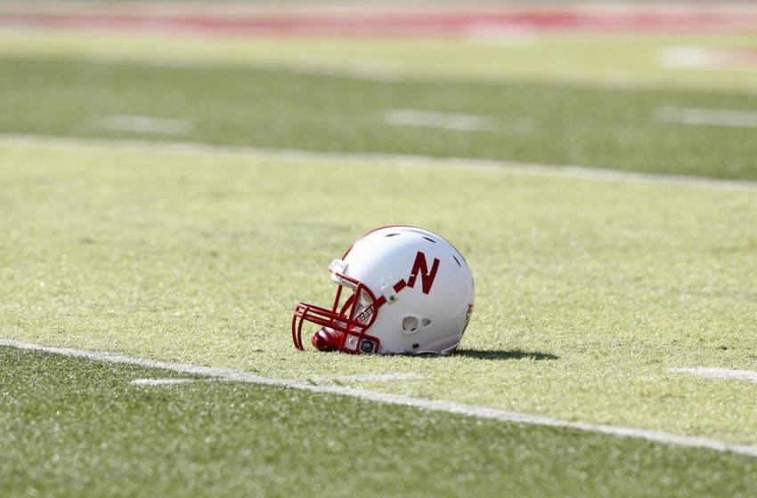 LINCOLN, NE - SEPTEMBER 01: Detail view of a Nebraska Cornhuskers helmet on the field before the game against the Southern Miss Golden Eagles at Memorial Stadium on September 1, 2012 in Lincoln, Nebraska. The Cornhuskers won 49-20. (Photo by Joe Robbins/Getty Images)