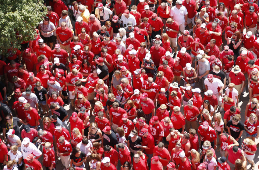 LINCOLN, NE - SEPTEMBER 01: General view of a sea of Nebraska Cornhuskers fans as they enter the stadium before the game against the Southern Miss Golden Eagles at Memorial Stadium on September 1, 2012 in Lincoln, Nebraska. The Cornhuskers won 49-20. (Photo by Joe Robbins/Getty Images)