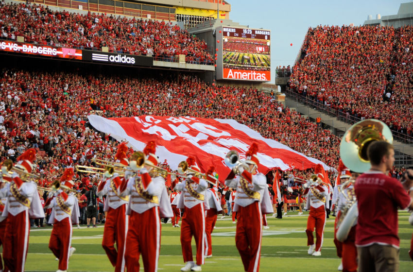 LINCOLN, NE - SEPTEMBER 29: The Nebraska Cornhuskers marching band performs on the field before their game against the Wisconsin Badgers at Memorial Stadium on September 29, 2012 in Lincoln, Nebraska. Nebraska won 30-27. (Photo by Eric Francis/Getty Images)