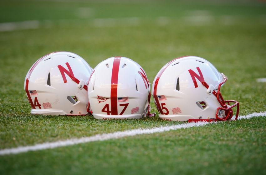 LINCOLN, NE - SEPTEMPER 20: Nebraska Cornhusker helmets before their game at Memorial Stadium on September 20, 2014 in Lincoln, Nebraska. Nebraska defeated Miami 41-31. (Photo by Eric Francis/Getty Images)