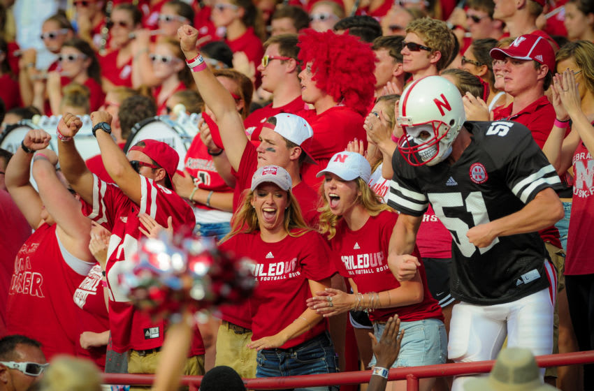 LINCOLN, NE - SEPTEMBER 5: Nebraska Cornhuskers fans cheer during their game against the Brigham Young Cougars at Memorial Stadium on September 5, 2015 in Lincoln, Nebraska. (Photo by Eric Francis/Getty Images)