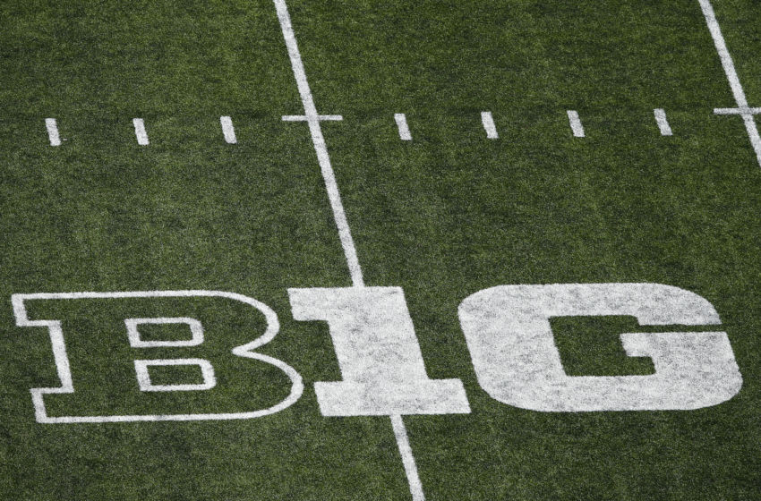 COLUMBUS, OH - OCTOBER 10: General view of the Big Ten logo seen on the field during the game between the Ohio State Buckeyes and the Maryland Terrapins at Ohio Stadium on October 10, 2015 in Columbus, Ohio. The Buckeyes defeated the Terrapins 49-28. (Photo by Joe Robbins/Getty Images)