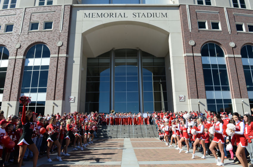 LINCOLN, NE - OCTOBER 22: The Nebraska Cornhuskers band and cheerleaders await the arrival of the team before the game against the Purdue Boilermakers at Memorial Stadium on October 22, 2016 in Lincoln, Nebraska. (Photo by Steven Branscombe/Getty Images)