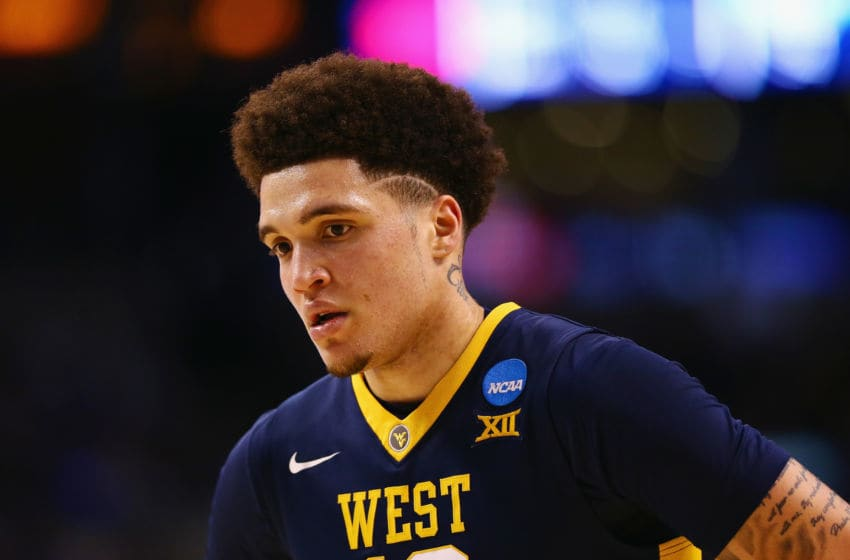 BOSTON, MA - MARCH 23: Teddy Allen #13 of the West Virginia Mountaineers reacts during the second half against the Villanova Wildcats in the 2018 NCAA Men's Basketball Tournament East Regional at TD Garden on March 23, 2018 in Boston, Massachusetts. (Photo by Maddie Meyer/Getty Images)