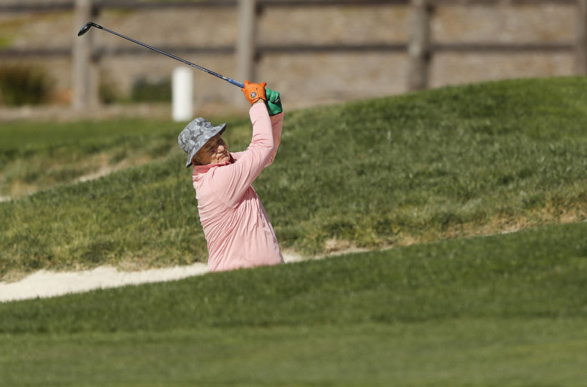 PEBBLE BEACH, CALIFORNIA - FEBRUARY 05: Actor Bill Murray plays a shot on the second hole during the 3M Celebrity Challenge prior to the AT&T Pebble Beach Pro-Am at Pebble Beach Golf Links on February 05, 2020 in Pebble Beach, California. (Photo by Michael Reaves/Getty Images)