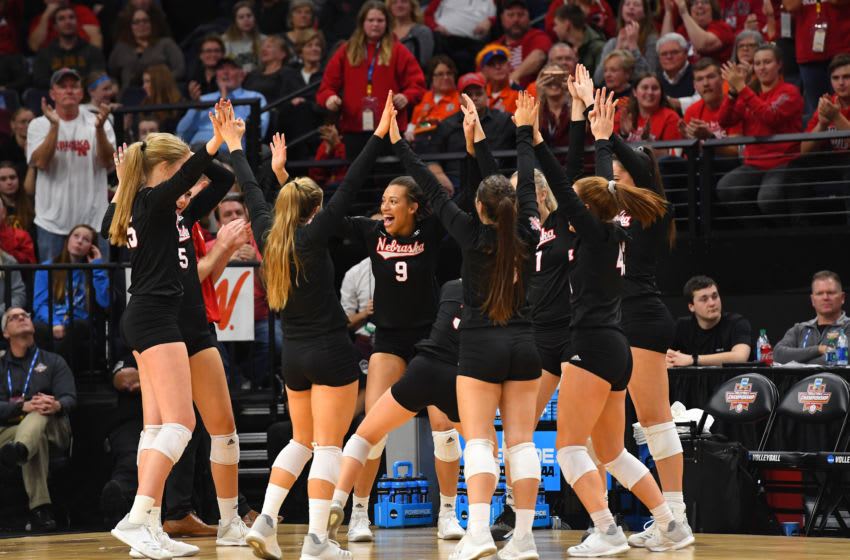 MINNEAPOLIS, MN - DECEMBER 15: The Nebraska Cornhuskers celebrate a point against the Stanford Cardinal during the Division I Women's Volleyball Championship held at the Target Center on December 15, 2018 in Minneapolis, Minnesota. Stanford defeated Nebraska 3-2 for the national title. (Photo by Jamie Schwaberow/NCAA Photos via Getty Images)